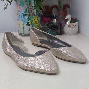 🔴BP. Sparkly Platinum Glitter Flat Heels